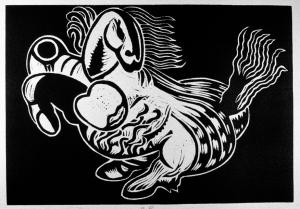 Linocut She  1977