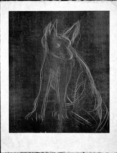 Woodcut Street Dog 78