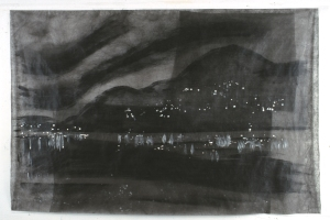 "Landscape  # 3 Baie St Paul 2000 54 x 84"" acrylic and sumi ink on fabric"