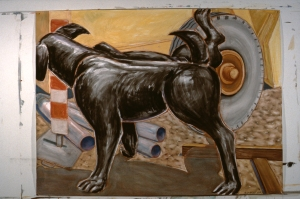 "Black Hound  1984 60"" x 66""  gouache dry pastel and red conte"