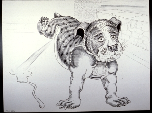Bulldog pen and ink 1976