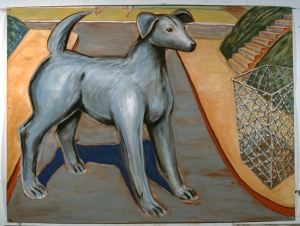 "Dog and Basket  1984  60 x 78""  gouache chalk pastel and red conte on paper"