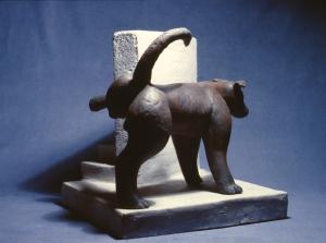 """Dog and Stairs  ceramic  1984  21 x 21 x 20"""""""