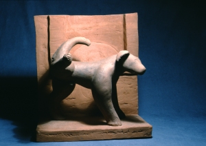 "Dog and Window  1984  22"" x 28 x 22""  ceramic"