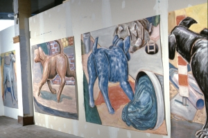 """Dog drawings  Clark Street studio Montreal 1984 gouache and red chalk each drawing is 60"""" high by varying lengths, 70"""" and more"""