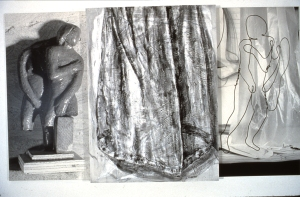 "Focussing 1987  collection of the Dalhousie University Art Gallery  66 x 113"" x 4"" encaustic & photographs on wood"