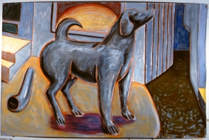 "Grey Dog  1984  60"" x 90"" gouache chalk pastel and red conte on paper"