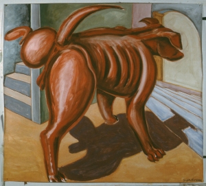 "Red Dog  60"" x 72""  1984 gouache and red chalk on paper"