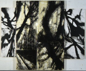"Shadow series 1997  encaustic and photograph on wood  66"" x 81"" x 2"""