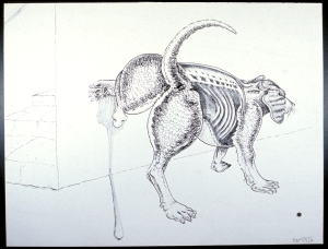 Skinny Dog pen and ink 1976