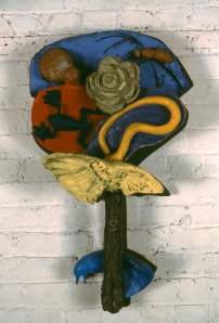 "Swamp Business 1983  36"" x 24"" x 8""  acrylic paint on fired clay"