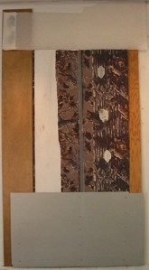 "90"" x   47 x 2""  wood, fabric, plastic, formica, photo"