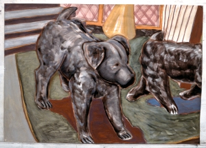 Two Dogs 1984 5' x 7'   gouache chalk pastel and red conte on paper